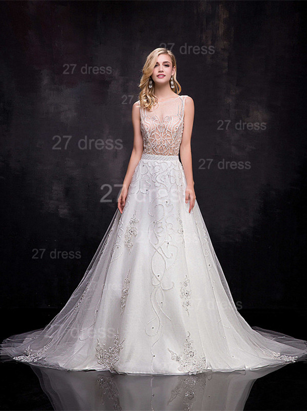 Delicate Sleeveless A-line Wedding Dress Beadings Court Train