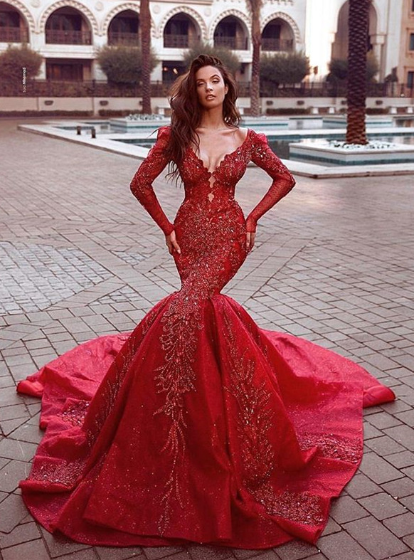 Gorgeous Red Long Sleeve Prom Dresses | 2020 Mermaid Lace Appliques Evening Gowns BC0669