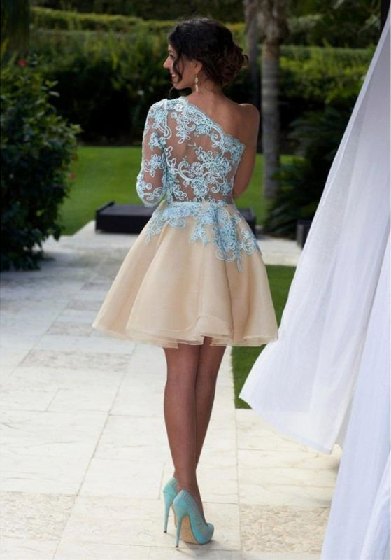 Charming One Shoulder Blue Lace Homecoming Dress 2020 New Arrivals Short Prom Dress