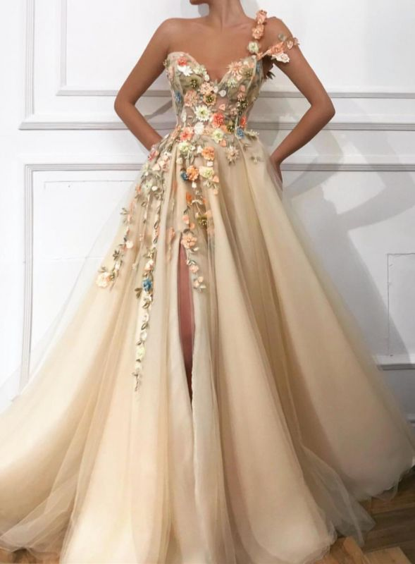 Gorgeous One Shoulder 2020 Prom Dress | Slit Tulle Flowers Evening Gowns