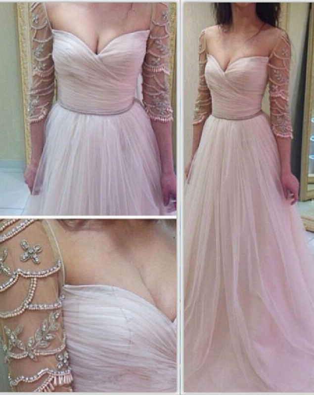 Elegant 3/4 Length Sleeve 2020 Prom Dress Long Tulle With Diamonds