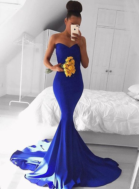 Elegant Sweetheart Mermaid Royal Blue 2020 Prom Dress Floor Length On Sale BA8046