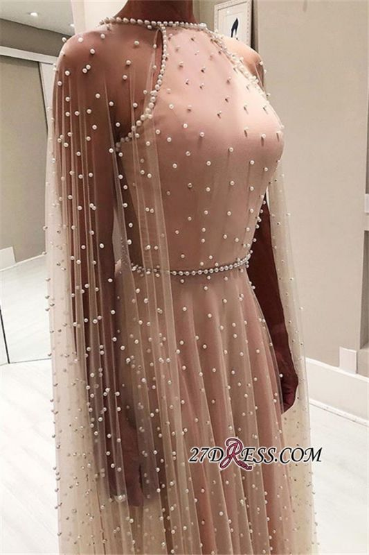 Pink Sheer-Tulle Backless A-Line Prom Gown | Elegant Beading Long Sleeves Prom Dress