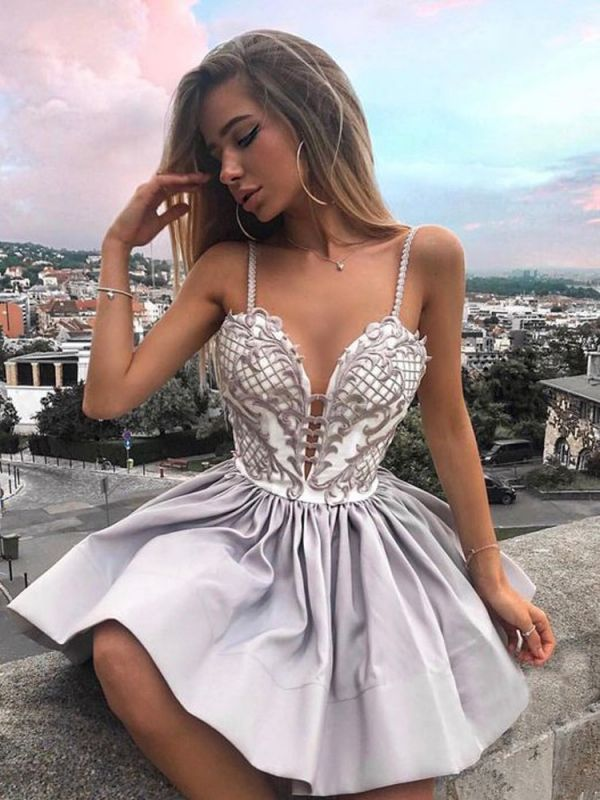 Fashion Spaghetti Strap Lace Homecoming Dress | Short Cute Party Gown BC0033