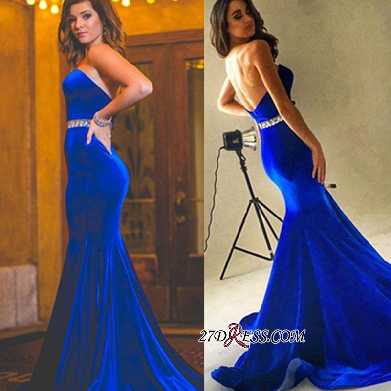 Velvet Backless Royal-Blue Mermaid Charming Crystals-Belt Sweetheart Prom Dress BA7608