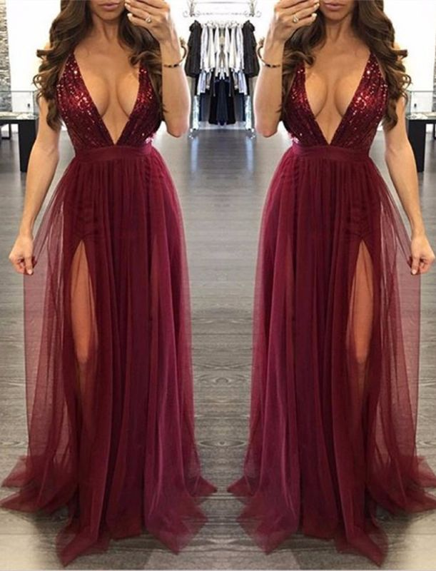 Sexy Burgundy V-neck Sequined Formal Dress | 2020 Deep V-neck Prom Dress