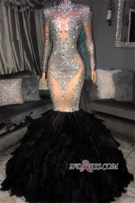 Mermaid Sliver Sequins Long Sleeves Evening Dresses | Elegant Feather High Neck Prom Dresses BC1265