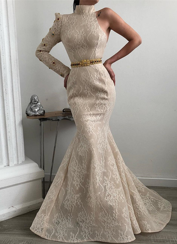 Elegant High-Neck Lace Prom Dresses | 2020 Mermaid Long Sleeve Evening Gown