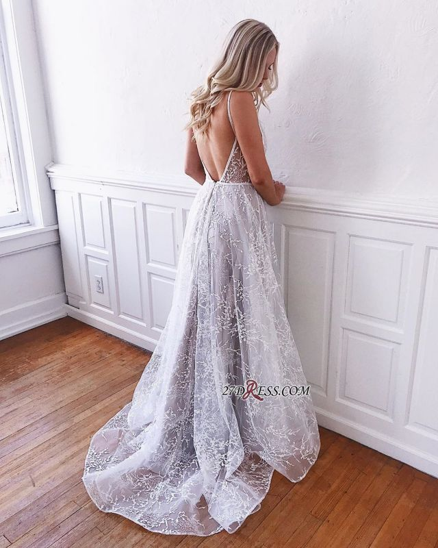 V-neck Marvelous Spaghetti-Staps Embroidery Wedding Dresses