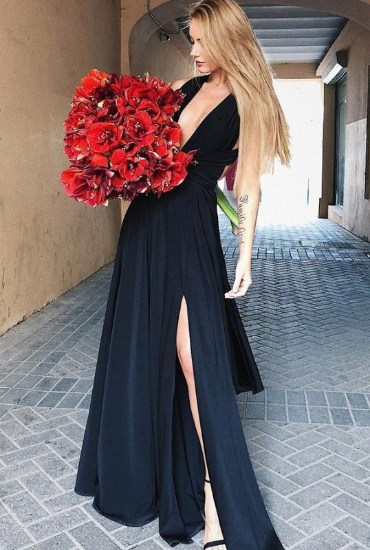 2020 Sexy Black Deep V Neck Sleeveless Floor-Length Evening Gown | A-Line Front Split Cross Straps Prom Dress