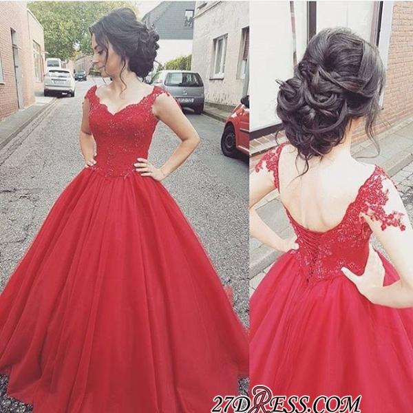 Tulle Lace-up Lace Straps Modern Red Prom Dress BA4632