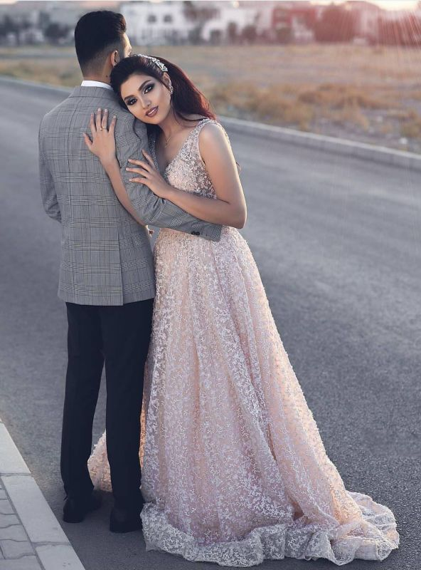 Newest Pink Lace A-line Straps Evening Dress   Sleeveless Evening Gown