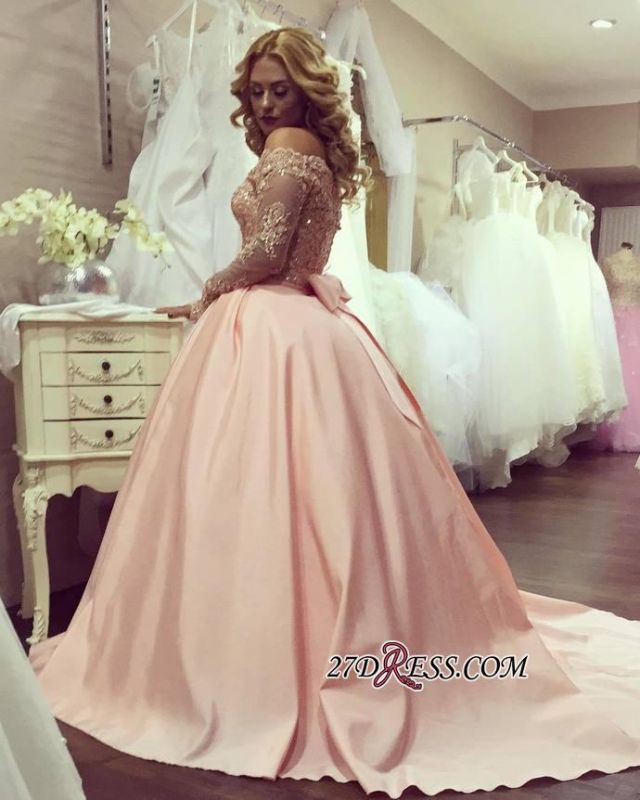 Ball-Gown Off-the-Shoulder Gold-Lace Bowknot Long-Sleeves 2020 Prom Dresses ly160