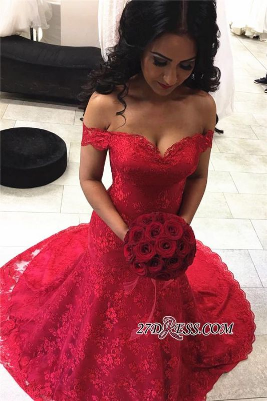 Red Sexy Lace Court-Train Mermaid Off-the-shoulder Evening Dresses