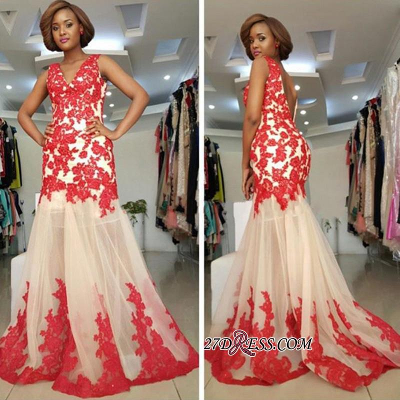 Sleeveless Straps Lace-Appliques Mermaid Modest Backless Prom Dress