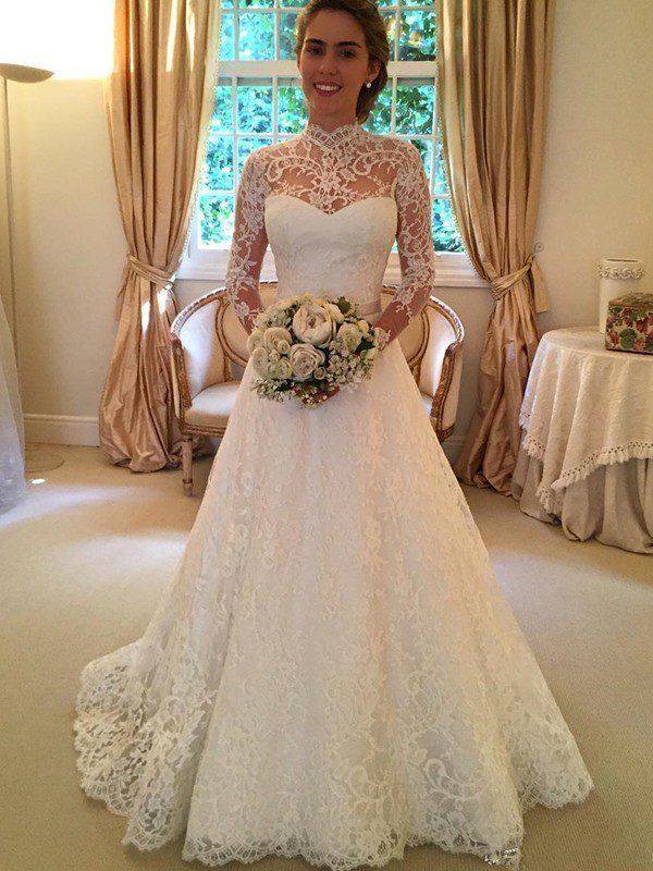 Gorgeous High Neck Long Sleeves Wedding Dress | Princess Lace Bridal Gowns With Ribbon