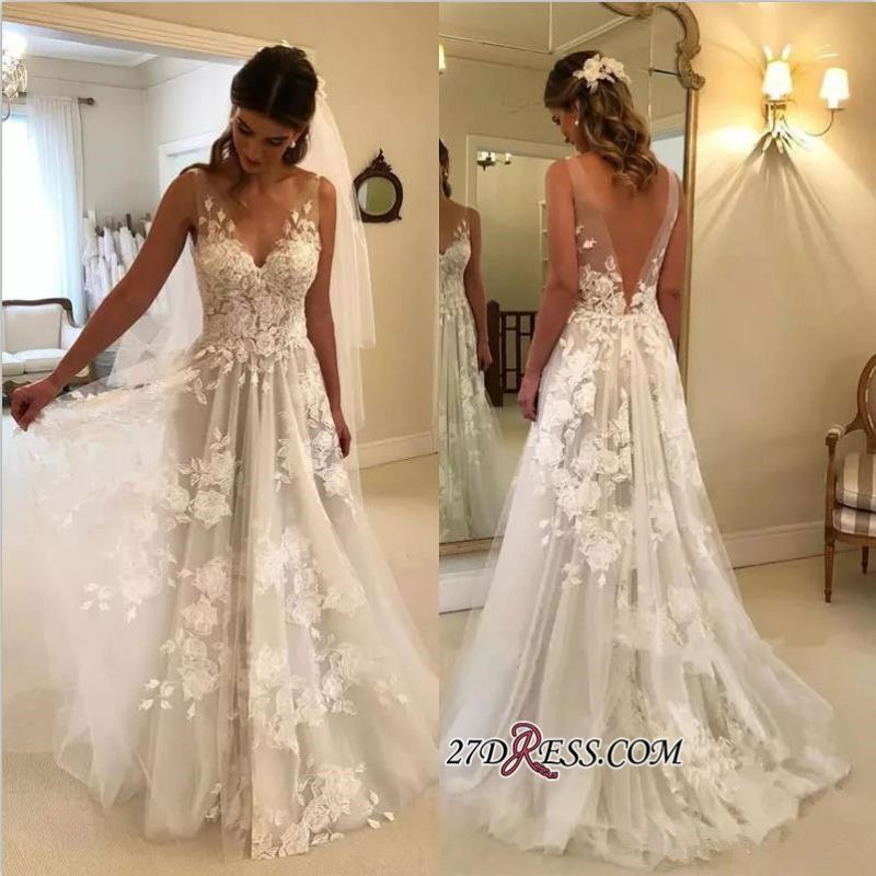 V-Neck Princess Wedding Dresses | 2020 Bridal Gowns With Appliques
