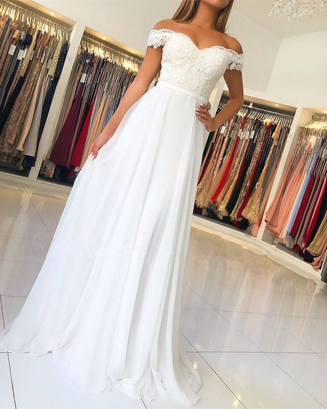 Elegant Off-the-Shoulder Long Evening Gowns | Lace Appliques Prom Dress With Zipper Button Back BC1141