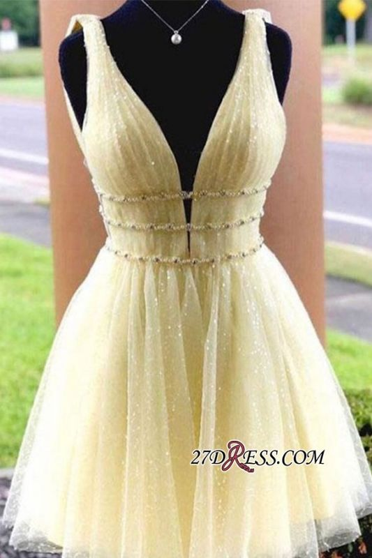 Short Glitter V-neck Strap A-line Beaded Homecoming Dresses