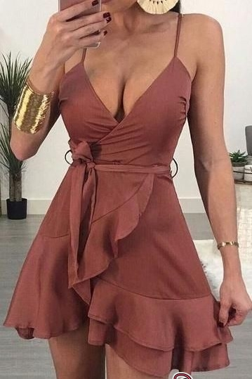 Spaggetti-Straps Sleeveless Gorgeous Ruffled A-line V-neck Homecoming Dresses