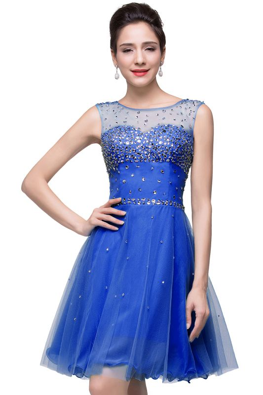 Luxurious Illusion Cap Sleeve Cocktail Dress Beadings Crystals Tulle Short Homecoming Gown CPS170