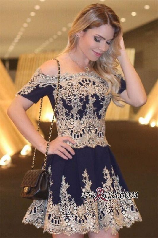 Navy Latest Cheap Off-The-Shoulder Lace Appliques Short-Sleeves Homecoming Dress