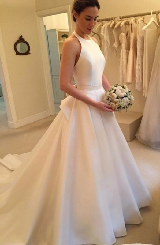 Gorgeous Sleeveless Halter Wedding Dress | 2020 Backless Bridal Gown