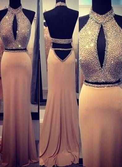 Stunning Backless Long evening dresses 2020 Halter Chiffon Beading Prom gown