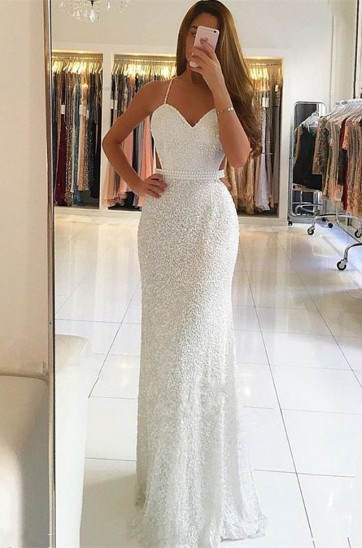 Gorgeous Spaghetti-Straps White Prom Dresses | 2020 Long Beadings Evening Gowns On Sale BC0476
