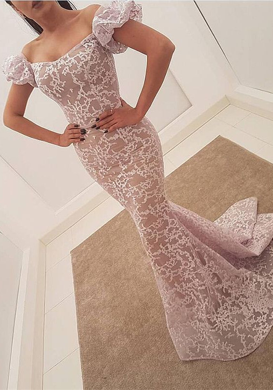 Gorgeous Bubble Sleeve Evening Dress | 2020 Mermaid Sequins Prom Party Dress