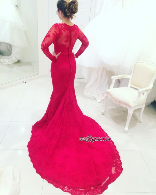Mermaid High-Neck Long-Train Appliques Red Long-Sleeves Lace Evening Dresses BA3865