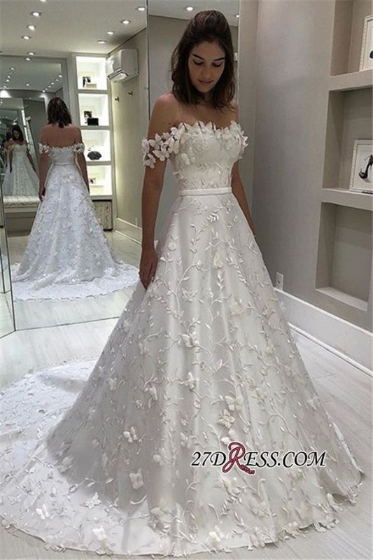 Gorgeous Strapless Off-The-Shoulder Bridal Gown | Elegant Applique Ball-Gown Wedding Dress
