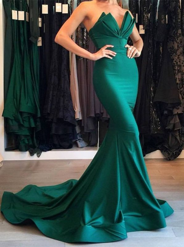 Designer Green Mermaid 2020 Evening Dress Long Party Gowns On Sale BA7134