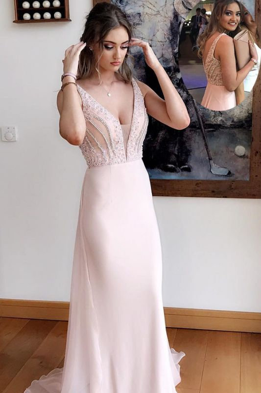 Simple Pink Beads Straps Evening Dress | Sleeveless Evening Gown