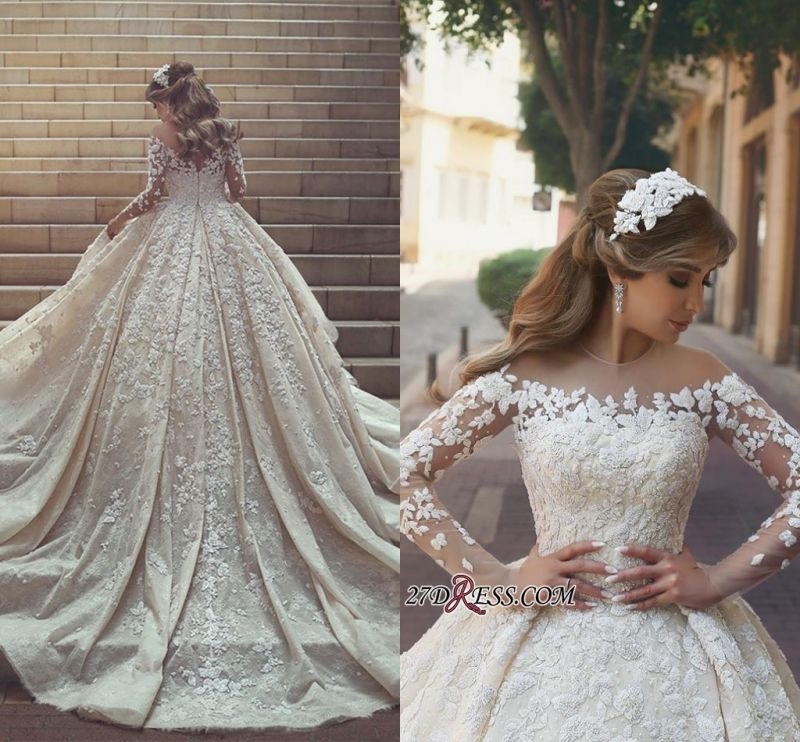 Tulle Crystal Long-Sleeves Gorgeous Appliques Wedding Dress BA6989