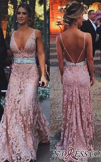 2020 Pink Tulle V-Neck Beads Sexy Zipper Lace Long Prom Dress