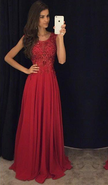 Fit And Flare Sleeveless Red Evening Dresses 2020 Lace Appliques Chiffon
