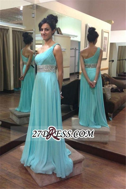 Long Chiffon Empire One-Shoulder Beading Sleeveless Prom Dresses