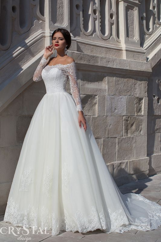 Modern Off-the-shoulder Long Sleeve Wedding Dress With Lace