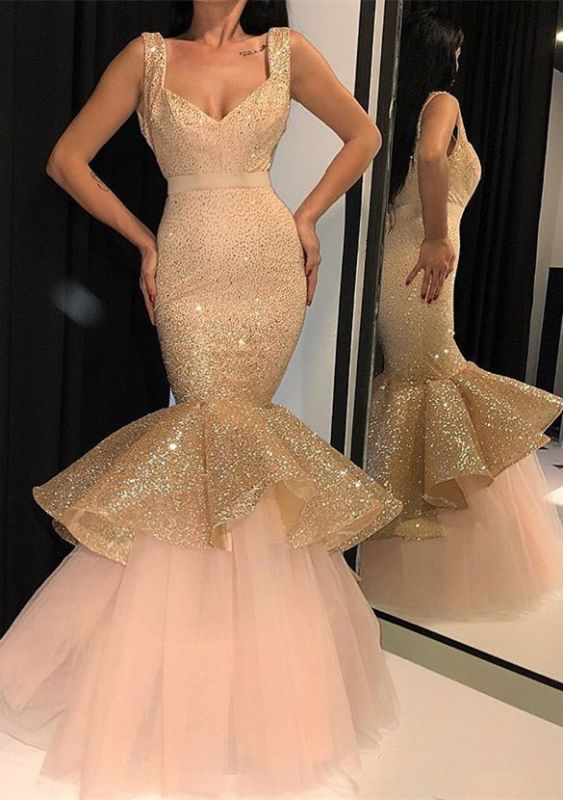 Glamorous Sweetheart Sequins Prom Dresses | 2020 Mermaid Ruffles Evening Gowns