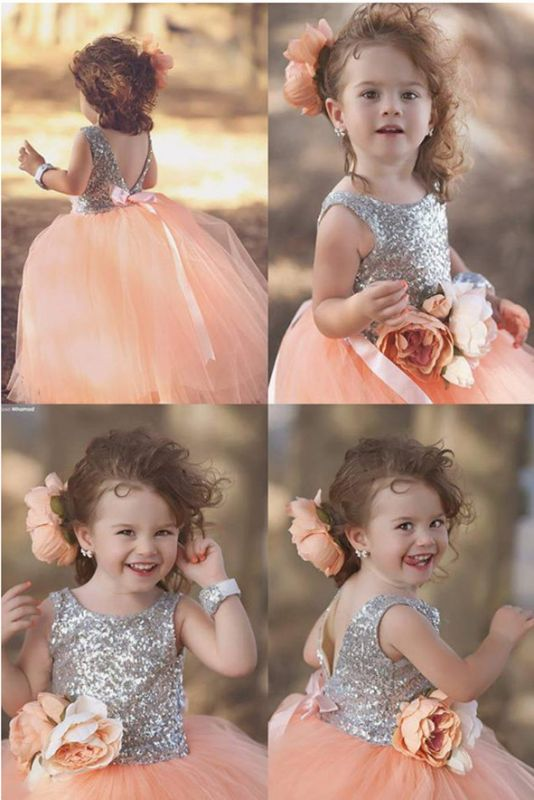 Lovely Tulle Sequined Flower Girl Pageant Dress 2020 Jewel Sleeveless
