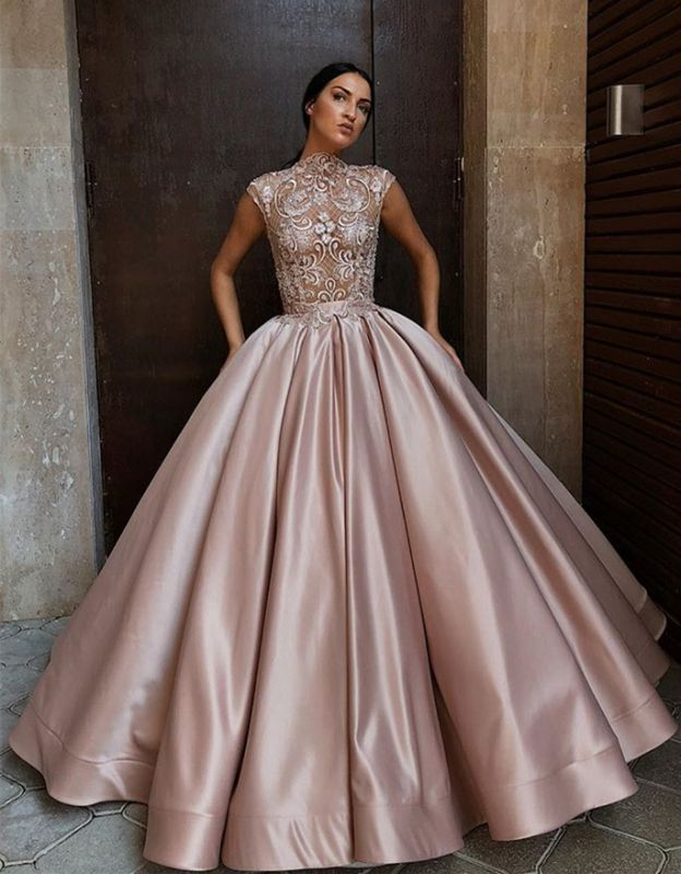 Glamorous High Neck Cap Sleeves Prom Dress | Ball Gown Lace Evening Gowns BC1196