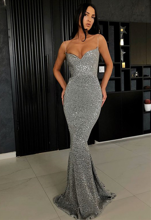Sexy Spaghetti-Straps Sequins Prom Dress | 2020 Mermaid Long Evening Gowns BC0274