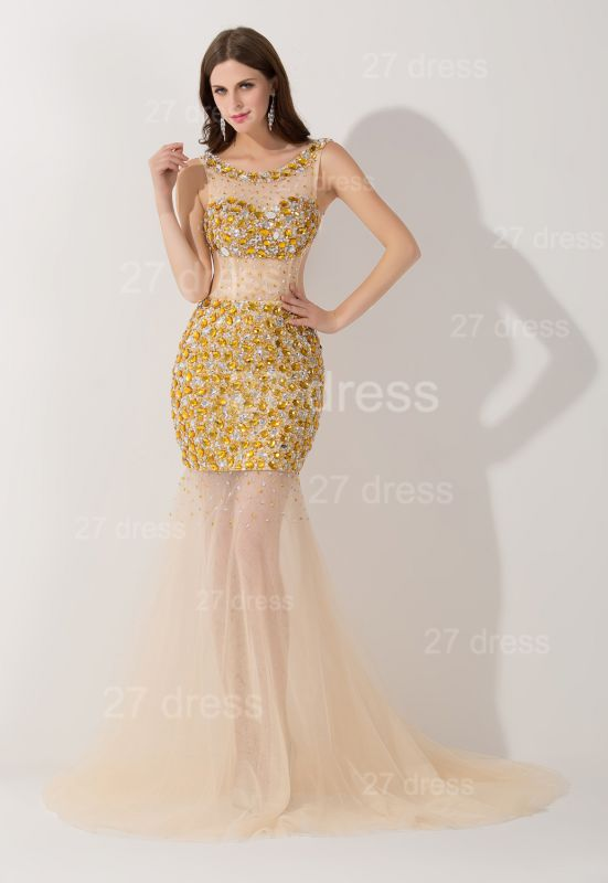 Sexy Crystals Illusion Mermaid Evening Dress Sweep Train
