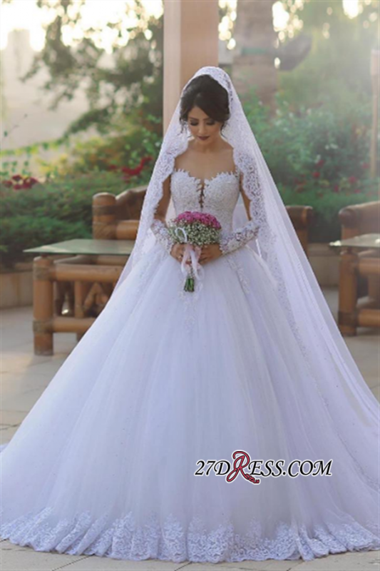 Tulle Ball Popular Long-Sleeves Appliques Elegant Wedding Dress BA6619