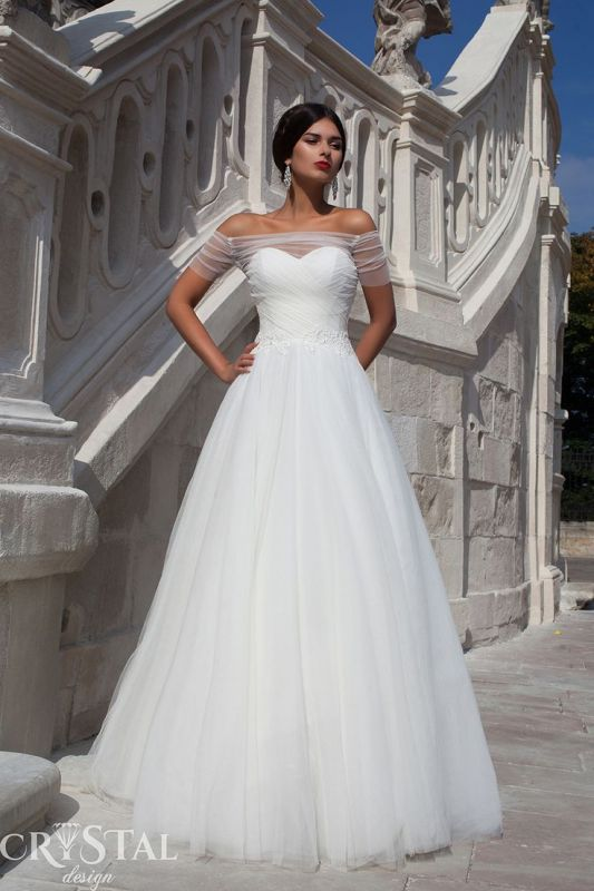 Elegant Off-the-shoulder Tulle Wedding Dress Lace-up With Bowknot