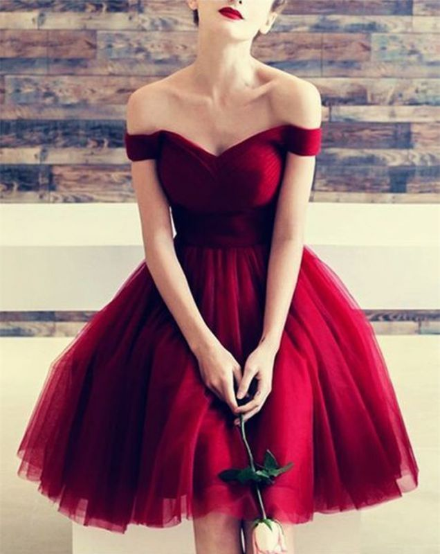 Newest Off-the-shoulder Red Homecoming Dress | Short A-line Party Gown BC0960