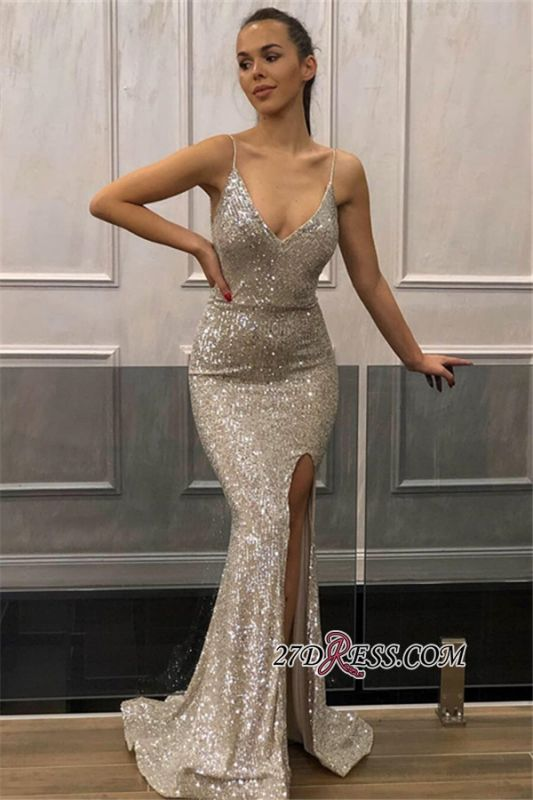 Shiny Sequins Mermaid Prom Dresses | Spaghetti Straps Slit Evening Dresses