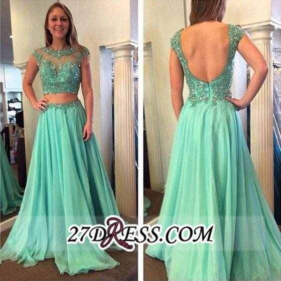 Beading Jewel A-line Long Gorgeous Two-Piece Cap-Sleeve Prom Dress