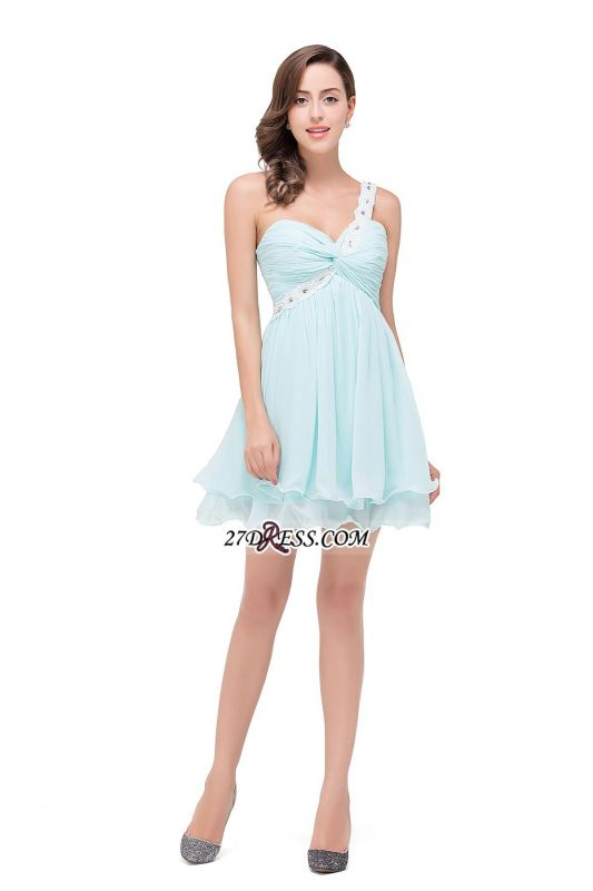 Elegant One Shoulder Chiffon Short Homecoming Dress